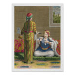 Turkish Girl, having coffee on the sofa, 18th cent Poster