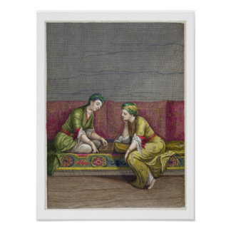 Turkish Girls, playing Mangala, 18th century (engr Poster
