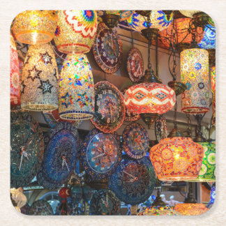 Turkish Glass Lamps for Sale in Istanbul Market Square Paper Coaster