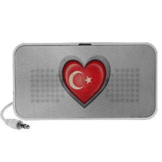 Turkish Heart Flag Stainless Steel Effect Laptop Speakers