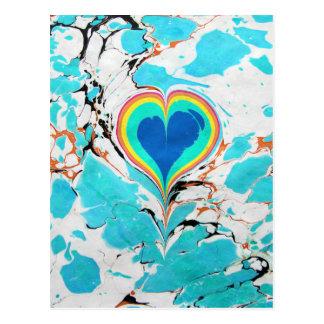 Turkish Heart Water Marbling Postcard