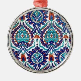 Turkish Iznik Ottoman Floral Design Pattern Silver-Colored Round Decoration