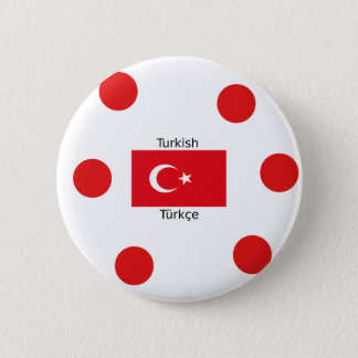 Turkish Language And Turkey Flag Design 6 Cm Round Badge