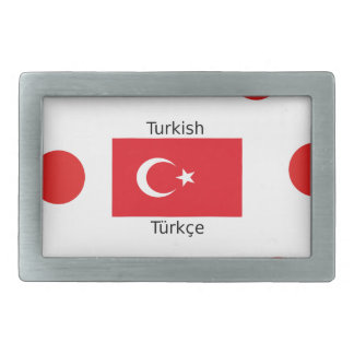 Turkish Language And Turkey Flag Design Belt Buckle