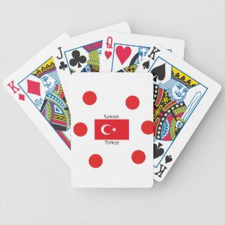 Turkish Language And Turkey Flag Design Bicycle Playing Cards