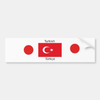 Turkish Language And Turkey Flag Design Bumper Sticker