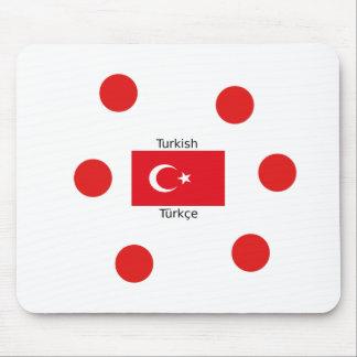 Turkish Language And Turkey Flag Design Mouse Pad