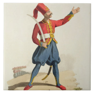 Turkish soldier, from 'Costumes of the Various Nat Tile