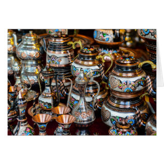 Turkish Teapots for Sale in Istanbul Turkey Card