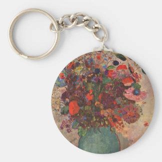 Turkish Vase, Odilon Redon, Vintage Flowers Floral Basic Round Button Key Ring