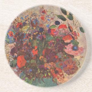 Turkish Vase, Odilon Redon, Vintage Flowers Floral Coaster