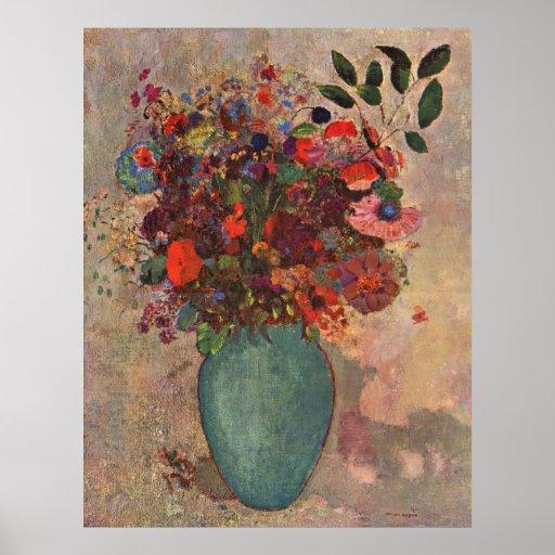 Turkish Vase, Odilon Redon, Vintage Flowers Floral Posters