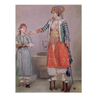 Turkish Woman with her Servant Poster
