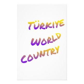 Türkiye world country, colorful text art stationery