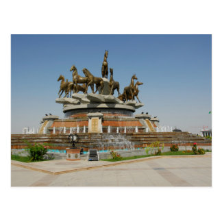 Turkmenistan - Ashgabat - Horses Fountain Postcard
