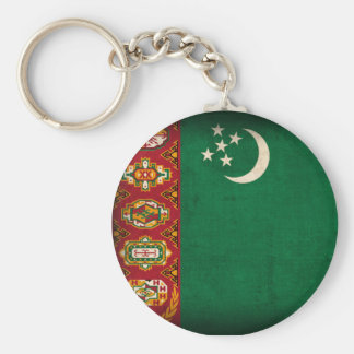 Turkmenistan Flag Distressed Keychain