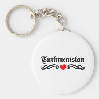 Turkmenistan Tattoo Style Basic Round Button Key Ring