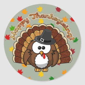 turkowl - Thanksgiving cards and more Round Sticker