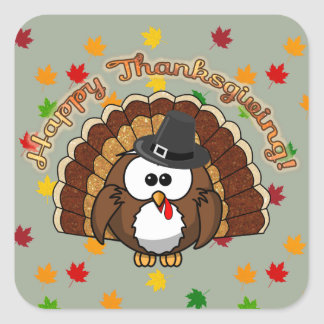 turkowl - Thanksgiving cards and more Square Sticker