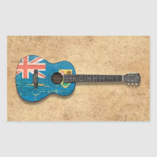 Turks and Caicos Flag Acoustic Guitar Rectangle Sticker