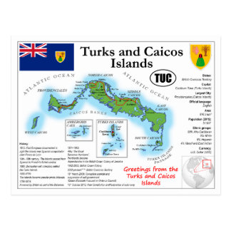 Turks and Caicos Map Postcard