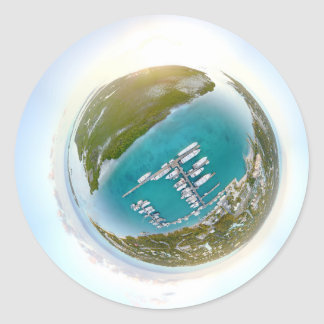 Turks and Caicos tiny planet panorama Classic Round Sticker