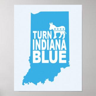 Turn Indiana Blue Progressive Art Poster