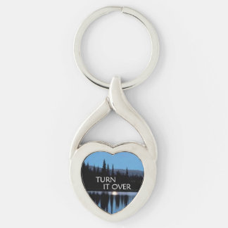 Turn It Over Silver-Colored Twisted Heart Key Ring