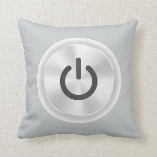 Turn Me On Grey Funny Button Cushion
