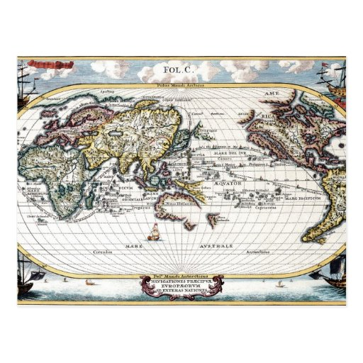 Turn of the 18th century world map post cards