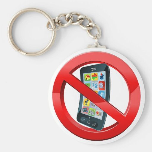 Turn off mobile phones sign keychains
