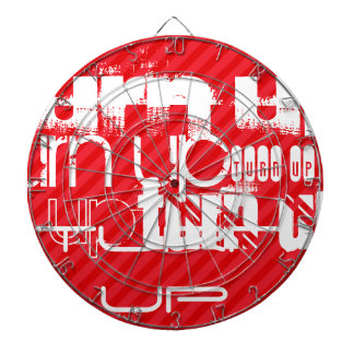 Turn Up; Scarlet Red Stripes Dartboard With Darts