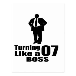 Turning 07 Like A Boss Postcard