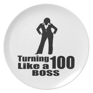 Turning 100 Like A Boss Party Plates