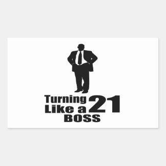 Turning 21 Like A Boss Rectangular Sticker