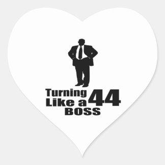 Turning 44 Like A Boss Heart Sticker