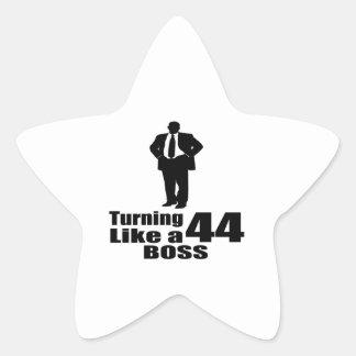 Turning 44 Like A Boss Star Sticker