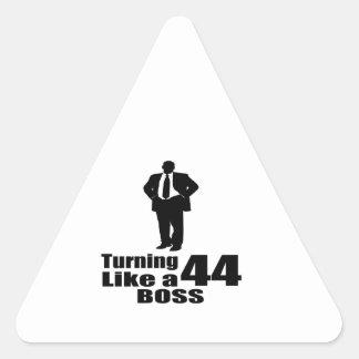 Turning 44 Like A Boss Triangle Sticker
