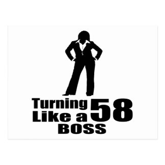 Turning 58 Like A Boss Postcard