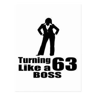 Turning 63 Like A Boss Postcard