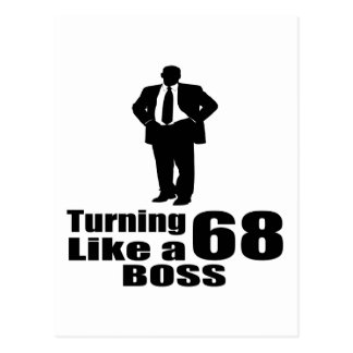 Turning 68 Like A Boss Postcard