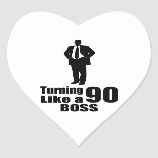 Turning 90 Like A Boss Heart Sticker