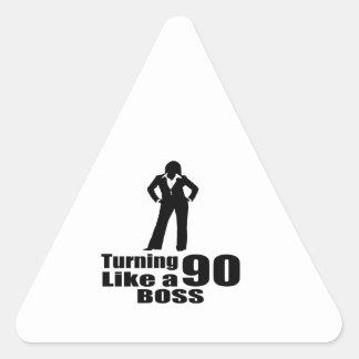 Turning 90 Like A Boss Triangle Sticker