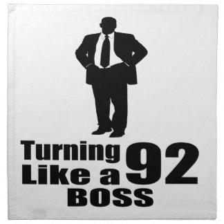 Turning 92 Like A Boss Napkin