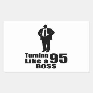 Turning 95 Like A Boss Rectangular Sticker