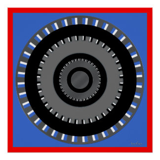 Turning Gear Optical Illusion Poster