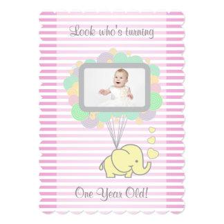 Turning One, Cutomize Girl Birthday Party 13 Cm X 18 Cm Invitation Card