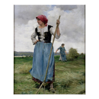 Turning the Hay (oil on canvas) Poster