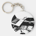 turntable black and white basic round button key ring