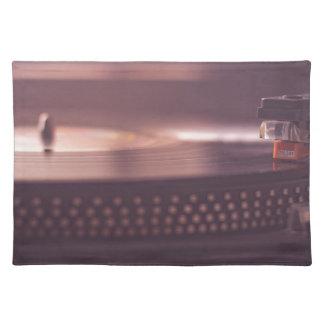 Turntable Music Record Vinyl Equipment Black Placemat